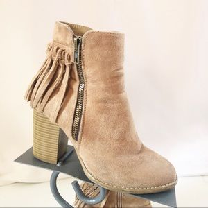 Cathy Jean Tan Fringe Ankle Boots Size 6